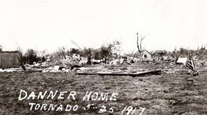 A home reduced to its slab near Sedgwick. Credit: Harvey County Historical Society