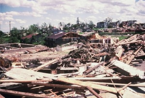 A view of the destruction in Barneveld. The home in the foreground has been swept away. Credit: NOAA