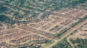 Aerial view of the incredible devastation in Midwest City. Hundreds of homes were annihilated. Credit: Bob Webster