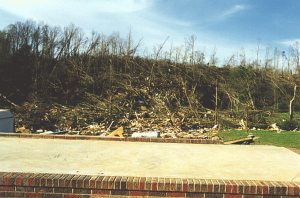 This brick home was completely swept away, the debris thrown into the adjacent hillside. This is F5 level damage. Credit: NOAA