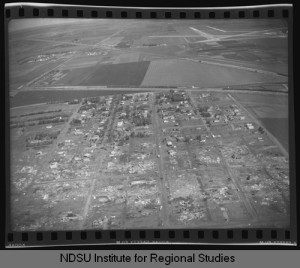 Aerial view of the Golden Ridge subdivision after the tornado. Credit: NDSU