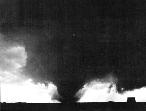 The tornado over open country west of town. Credit: Historical and Cultural Society of Clay County