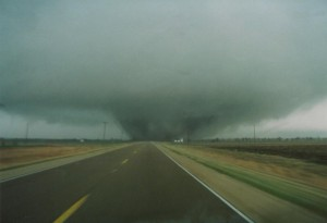 Taken as the tornado crossed Kansas 15 southeast of Goessel. Credit: Doug Nelson