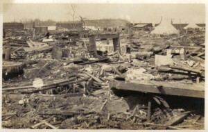 The destruction in Griffin, Indiana after the tornado.