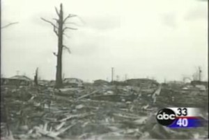 A view of the devastation in Guin. Rows of homes were wiped out. Credit: ABC 33/40