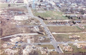 Aerial view of several swept away homes in Hesston. Credit: Newton Amateur Radio Club