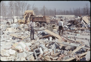 Aftermath of the tornado at the Candlestick Park Shopping Center. Credit: Mississippi State Archives