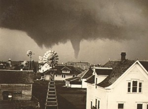 The tornado moving through farmland north of town. This is believed to be the first photograph of an F5 tornado. Credit: NOAA