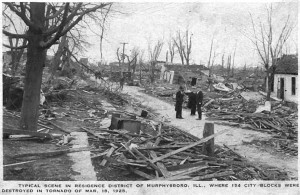 The devastation in the residential section of Murphysboro. Credit: Jackson County Historical Society