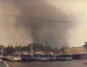 A spectacular view of the tornado taken as it approached the Village Center Plaza shopping center in Niles. Credit: Mike Zahurak