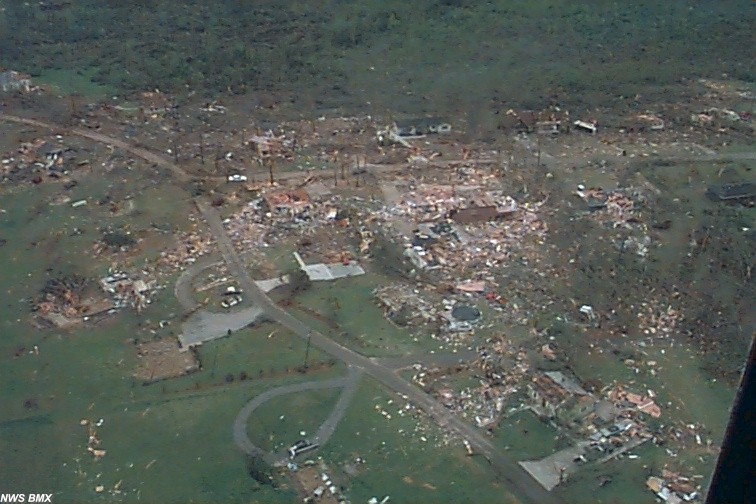clip aerial video from tornado damage in oak grove