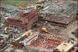 Oak Grove High School after the tornado. Credit: LifeTrac Technologies
