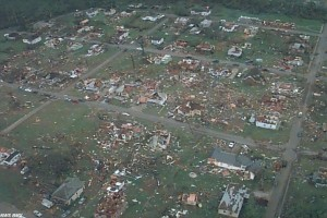 Aerial view of the destruction in the Oak Grove/Rock Creek area. Credit: NOAA