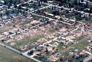 Aerial view of the devastation. Credit: Plainfield Public Library