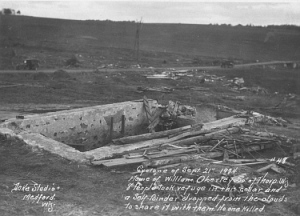 Damage to the Oberley residence near Reseburg. Note the chunk of the foundation that appears to be missing in the back of the picture. Credit: Thorp Area Historical Society