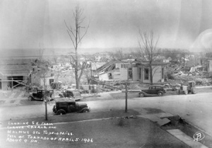 The corner of Church and Walnut Streets in Tupelo after the tornado. Credit: gendisasters.com