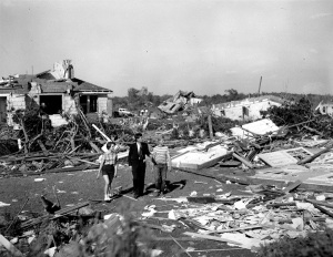 Then Massachusetts governor John F. Kennedy inspects the damage. Credit: NBC News
