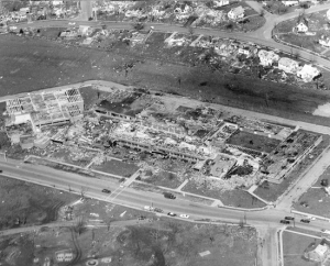 Aerial view of Xenia High School after the tornado. Credit: Greene County Public Library