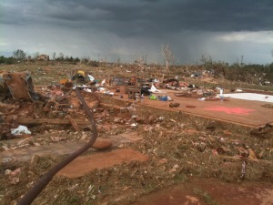One of several homes that were swept away in the El Reno area. Credit: NOAA