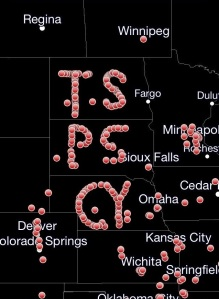 A tribute made by chasers aligning their GPS transponders to spell out the initials of Tim Samaras and his team. Credit: RadarScope