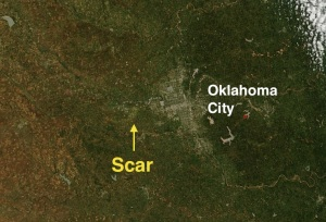 A satellite image showing the ground scar of the El Reno tornado. Credit: NASA
