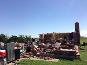 This brick home was destroyed by the tornado. The damage was rated EF3. Credit: NOAA