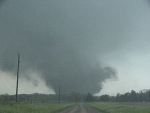 A view of the tornado passing south of Girard. Credit: NOAA