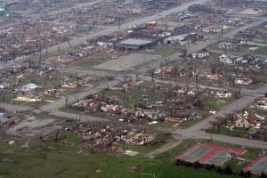 Aerial view of the destruction. Credit: John Vstecka