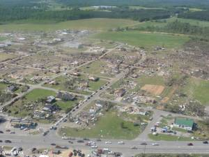Aerial view of the devastation in Hackleburg. Credit: NOAA