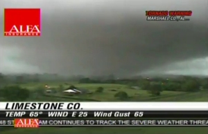 A shot of the tornado captured by a local TV news tower cam. Credit: WAFF TV