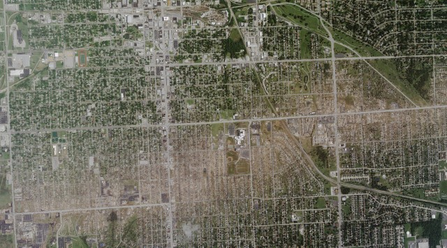 This spectacular satellite image shows the incredible devastation wrought by the tornado on Joplin. Credit: GeoEye