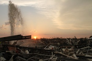 Sunset over the ruins of Joplin. Credit: AP