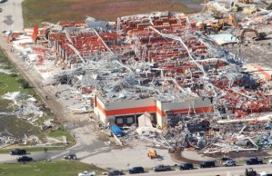 The Home Depot warehouse, where steel beams were mangled and twisted. Credit: Tom Uhlenbrock/UPI