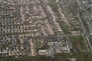 A view of the devastation around Briarwood Elementary School. Credit: Steve Gooch/AP