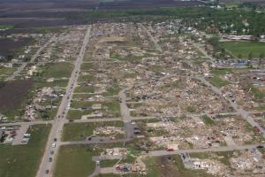 An aerial view of the devastation, including some swept away homes. Credit: P&N Aerial Photography