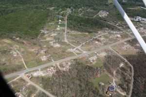 Aerial view of the devastation in Phil Campbell after the April 27 tornado.  Credit: HBTV