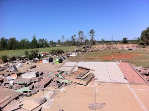 An obliterated brick home in Kemper County. Credit: NOAA
