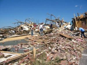 The brick and mortar Mountain View Baptist Church was virtually leveled. Credit: NOAA