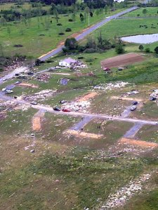 Aerial view of some of the damage in Rainsville. Credit: DeKalb County Sheriff's Department