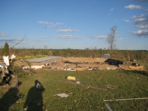 This home in Sylvania was completely obliterated, leaving only the porch and the foundation walls. Credit: NOAA