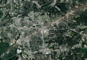 Satellite image of the damage path through Tuscaloosa. Credit: DigitalGlobe