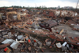 Some of the extensive damage in the Birmingham area. Credit: Daily Mail (UK)