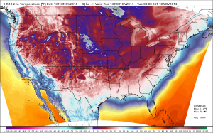 A map of near-surface temperatures at 8 am Eastern Time Tuesday morning.  Source: WeatherBell