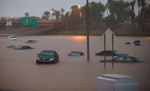 Historic flooding shut down interstates and flooded homes in the Phoenix area. Source: social media
