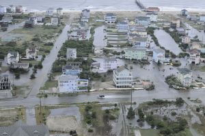 Coastal flooding in Rodanthe, North Carolina on Hatteras Island, one of the communities hardest hit by Arthur.  Source: United States Coast Guard