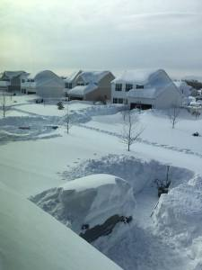 Incredible photo of a neighborhood in western New York buried by feet of lake effect snow.  Source: social media
