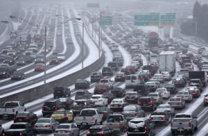 Icy roads in metro Atlanta brought traffic to a standstill.
