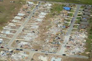Devastating damage to the Parkwood Meadows subdivision in Vilonia.  Source: NOAA