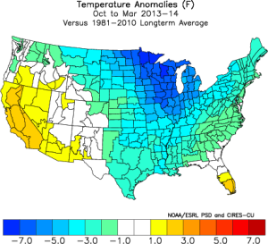 Observed temperature anomalies during the the Oct 2013-Mar 2014 period versus climate means, showing the bitter cold that gripped much of the lower 48.