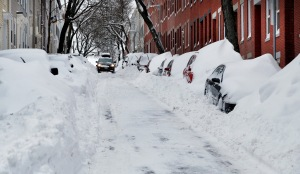 Buried cars in Boston's Charlestown neighborhood after the late January blizzard.  Source: Chicago Sun-Times